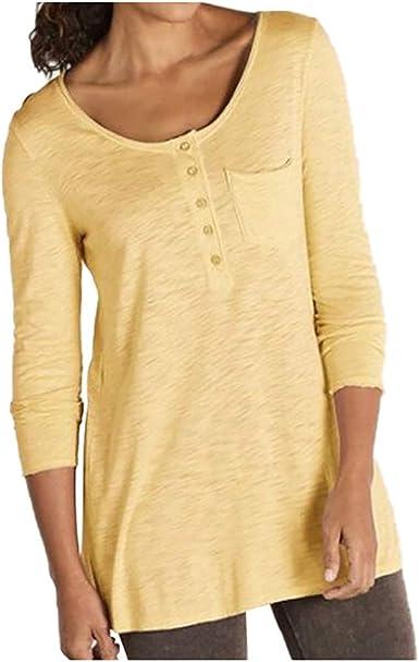 Camisa de Manga Larga para Mujer con Botones de Manga Larga, Cuello en V, Informal, para otoño e Invierno Amarillo 5X-Large: Amazon.es: Ropa y accesorios