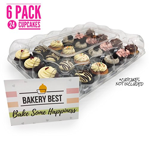 NEW! [6 Pack] BakeryBest 144 Cupcakes Carrier   Large 24 Slot High Dome Cupcake Carrier Disposable   Extra Sturdy   Clear Display   Unhinged Lid   Great for Decorated Cupcakes   Save Now!