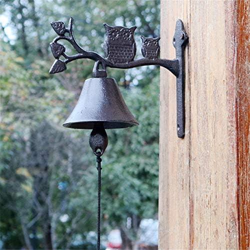 アンティークドアベル 呼び鈴 アイアン ベル鋳鉄 ドア チャイム 素朴な農村レトロドアベルは鉄工芸ダブルフクロウバーウォールデコレーション伝統的なスタイルをキャスト 庭の装飾 (Color : Multi-colored, Size : Free size)