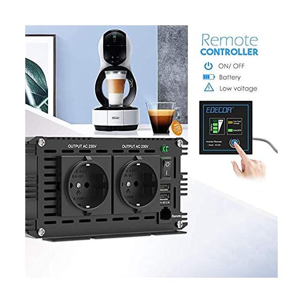 51ZdNX6Co L EDECOA Wechselrichter reiner sinus 1500w Spannungswandler 12V 230V 2x USB und Fernbedienung Spannungswandler Reiner…