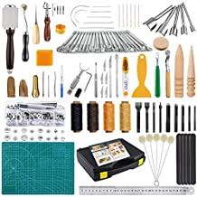 Caydo 99 Pieces Leather Craft Tools Kit Including Leather Sewing Tools, Punch Tools, Leather Rivets Tools, Stamping Set, Wooden Handle Nylon Hammer for Leather Craft and Saddle Making
