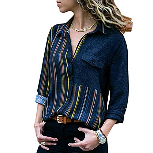 (HIRIRI Women's Gorgeous Sexy Shirts V-Neck Long Sleeve Blouse Soft Colorful Loose Casual Tops Navy)