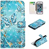 for iPhone 5/5S/SE Wallet Case and Screen Protector,QFFUN Glitter 3D Pattern Design [Blue Butterfly] Magnetic Stand Leather Phone Case with Card Holder Drop Protection Etui Bumper Flip Cover