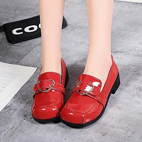 Shoes Retro Red Patent Buckle Comfort Leather Casual Carolbar Heels Womens Low 0qEwq8TU