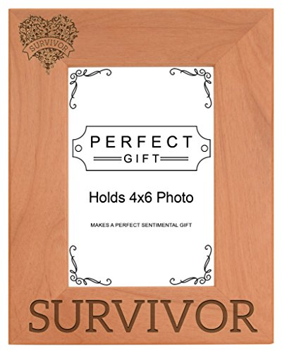ThisWear Breast Cancer Awareness Survivor Heart Support Natural Wood Engraved 4x6 Portrait Picture Frame Wood