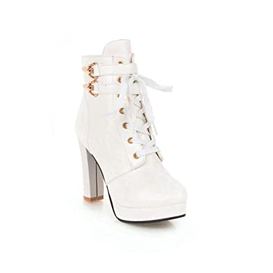 c677553549c Amazon.com  Womens Knee High Boots Sexy Chunky High Heels Pumps Ladies  Office Pu Leather Shoes(White-8 M US