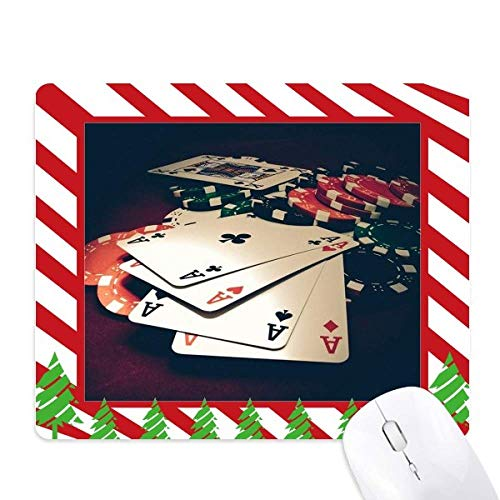 - Card Poker Chips Gambling Photo Mouse Pad Candy Cane Rubber Pad Christmas Mat