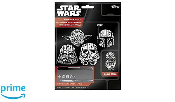 Amazon.com: Chroma Star Wars Wordle Automotive Decal Set Includes 5 Decals: Yoda, Darth Vader, Boba Fett, Chewbacca and Stormtrooper: Automotive