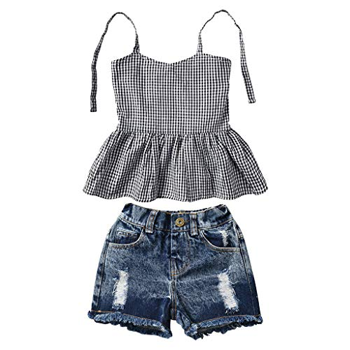 Summer Toddler Baby Girls Kid Strap Plaid Shirt Vest Tops + Ripped Denim Shorts Jeans Pants Outfits Set (Black, 4-5 Years)