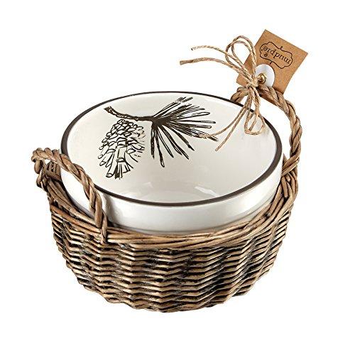 Mud Pie Pine Bough Christmas Holiday Pine Cone Dip Cup & Basket Set (Boughs Christmas Pine)