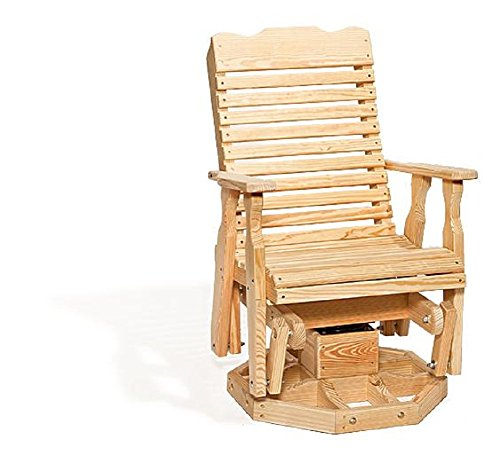 Curve Back Pine Wood Swivel Glider Chair (Natural)