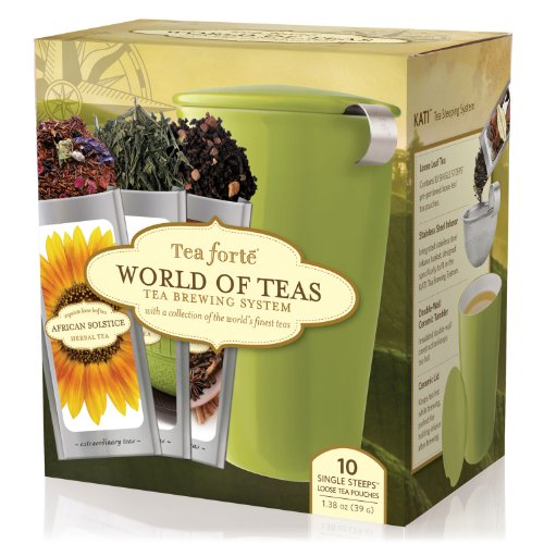 Tea Forte World of Teas Tea Brewing System (ten Single Steeps Loose Tea Pouches) (Ceramic Pistachio Green Glazed)
