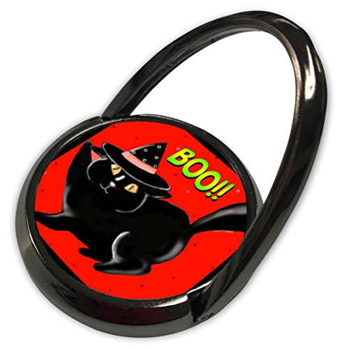 3dRose Dawn Gagnon Photography Halloween Designs - Halloween Black Boo Kitty Red, Cute little Halloween kitten with red background and black border - Phone Ring (phr_153698_1)