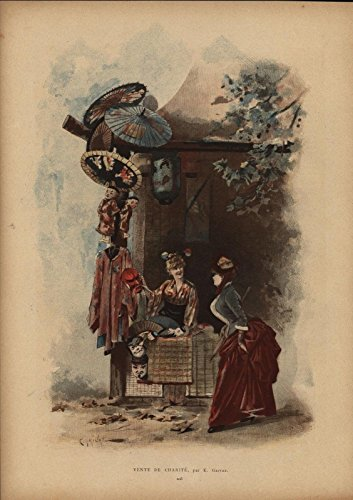 - Selling Oriental Trinkets Paper Lantern Mask 1884 antique lithograph color print
