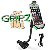 Car Mount Charger, Gripz® Upgraded Version Universal Gooseneck Cell Phone Holder with Dual USB 2.1A Car Charger Adapter with Fast Charging and Over Current Protection for 3.5-6.3 Inch Smartphone