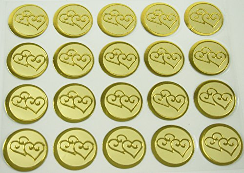Dreampartycreation 100 Double Hearts Print Wedding Round Envelope Seal Stickers 1 inch Diameter (GOLD) ()