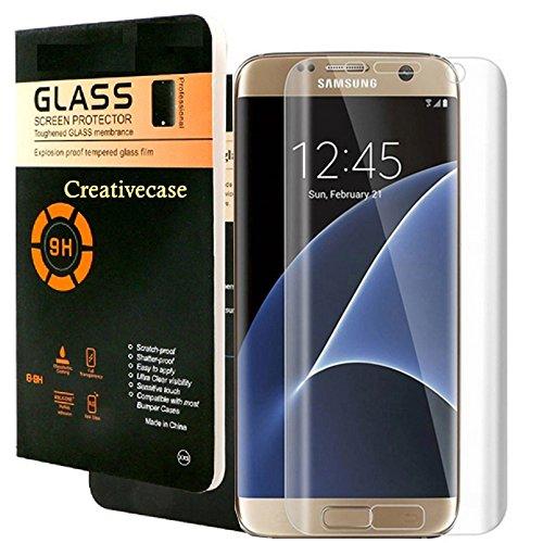 Galaxy S7 Edge Screen Protector,S7 Edge Tempered Glass,Creativecase [No-Bubble][9H Hardness][HD Clear] Tempered Glass Screen Protector for Samsung Galaxy S7 Edge