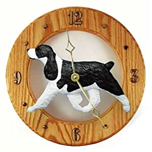 Michael Park Black English Springer Spaniel Wall Clock in Light Oak 10