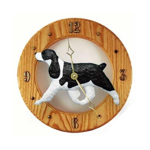 Michael Park Black English Springer Spaniel Wall Clock in Light Oak 1