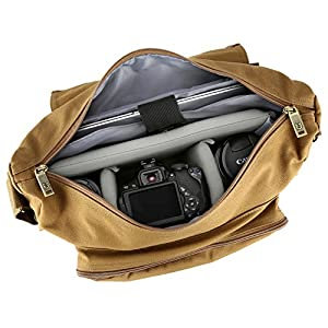 SLR Camera Messenger Bag, Evecase Large Canvas Messenger SLR/DSLR Camera Bag with Rain Cover for Digital Cameras, Laptops and other Accessories by Evecase