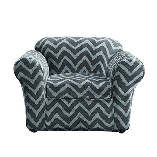 Sure Fit Stretch Plush Chevron 2 Piece   Chair Slipcover   Gray (SF44689)