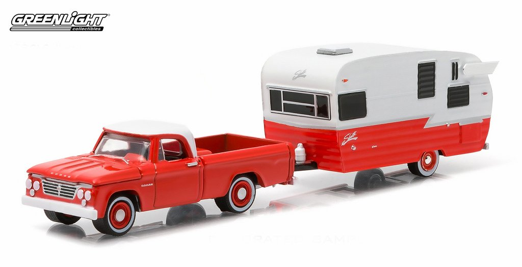 GREENLIGHT 1//164 HITCH /& TOW SERIES 4 1962 DODGE D-100 AND SHASTA AIRFLYTE 32040A