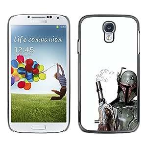 CASER CASES / Samsung Galaxy S4 I9500 / Smoking Gun Bobba Fett / Delgado Negro Plástico caso cubierta Shell Armor Funda Case Cover