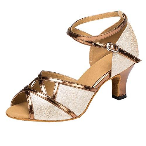 Tda Womens Fotled Wrap Peep Toe Glitter Syntetisk Salsa Tango Balsal Latin Modern Dans Bröllop Skor Brons