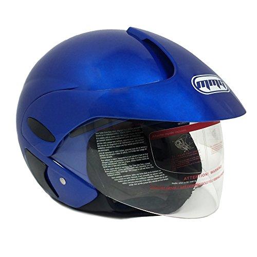 Blue Dual Shield - MMG 203 Motorcycle Scooter Open Face Helmet DOT Street Legal - Flip Up Shield – BLUE (Large)