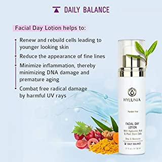 Hylunia Facial Day Lotion - 1.7 fl oz - Anti-Aging for Wrinkles - with Shea Butter, Hyaluronic Acid Serum, Zinc - Natural Vegan Moisturizer - Rapid Skin Repair