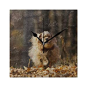 ZSHMG Living Room Wall Clock American Cocker Spaniel Runs Autumn Forest Square Silent Non Ticking Printing Acrylic 7.8 Inch Kids Wall Clocks for Girls 37