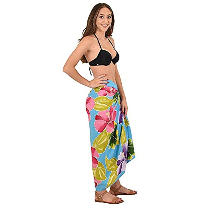 5800e760cf ISLAND STYLE CLOTHING Ladies Sarong Turquoise Lagoon Floral Hand-Painted  Beachwear + Free Coconut Clip