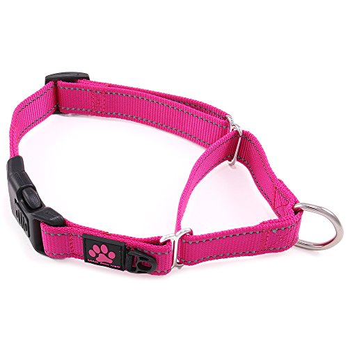 Neo Wide Dog Collar - Max and Neo Nylon Martingale Collar - We Donate a Collar to a Dog Rescue for Every Collar Sold (LARGE, PINK)