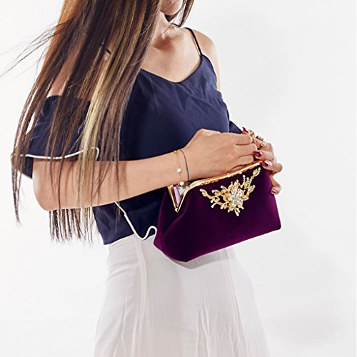 Chain Purple Prom Wedding Party Rhinestone Wallet Purse Luxury Jagenie Evening Women Bag Clutch q7B8Fvw