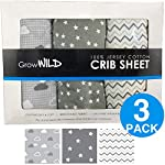 LifeTree Soft Fitted Crib Sheets – Animal Print Premium Cotton Toddler Bed Sheets for Baby Girls or Baby Boys – Fits Standard Crib Mattresses