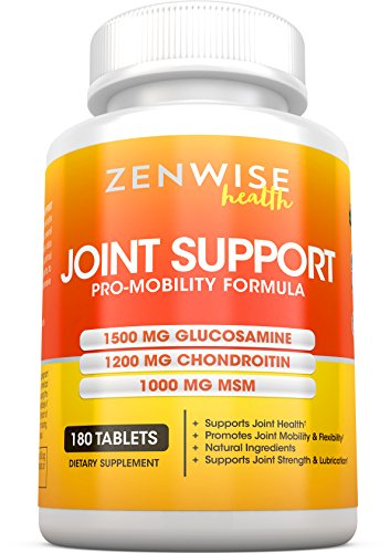 Glucosamine Sulfate 1500mg + Chondroitin + MSM - Extra Strength Joint Pain Relief Supplement with Hyaluronic Acid - All Natural Health Support for Aches, Soreness & Inflammation - 180 - Support Formula Cartilage