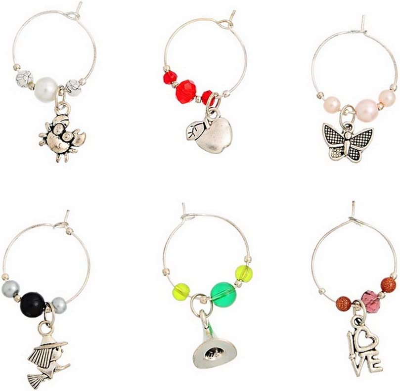 Souarts Mixed 6pcs Glass Charms Marker Tags Set with Gift Box Love Angel Animal Dragonfly Pendants