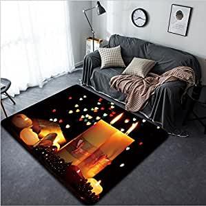 Vanfan Design Home Decorative 97309787 Beautiful candle and decor on wooden table on bright background Modern Non-Slip Doormats Carpet for Living Dining Room Bedroom Hallway Office Easy Clean Footclot