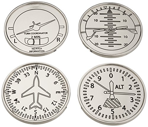 GODINGER SILVER ART Airplane Coasters, Set of - Aviators For Gifts