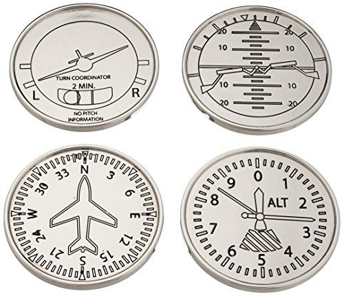 GODINGER SILVER ART Airplane Coasters, Set of (Tavern Coasters)