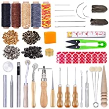 Leather Tooling Kit, Leather Working Tools and Supplies with Waxed Thread, Sewing Needles, Sewing Awls, Adjustable Leather Stitching Groover, Needle Point Tracing Wheel, Leather Snap Fasteners Kit