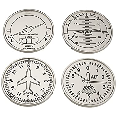 GODINGER SILVER ART Airplane Coasters, Set of 4