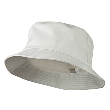 c2631e73a54 E4hats Big Size Cotton Blend Twill Bucket Hat - White W08S28F (XL-2XL)