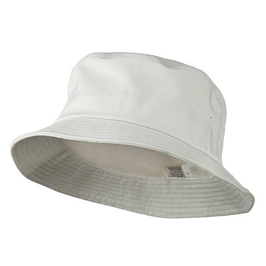 6fb8db3f707 E4hats Big Size Cotton Blend Twill Bucket Hat - White W08S28F (XL-2XL)