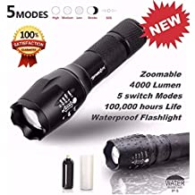 Portable Tactical Flashlight, 4000 Lumens XM-L T6 LED Flashlight G700 X800 Zoomable Super Bright Military Grade Waterproof Aluminum Alloy 5 Modes Adjustable Brightness Flashlight Torch Lamp Light