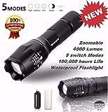 Portable Tactical Flashlight, 4000 Lumens XM-L T6 LED Flashlight G700 X800 Zoomable Super Bright Military Grade Waterproof Aluminum Alloy 5 Modes Adjustable Brightness Flashlight Torch Lamp Light
