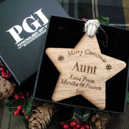 Best Aunt Gifts Auntie Aunty Wooden Christmas Gift Star