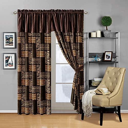 Modern 4 – Piece Dark Brown Black Animal Print Safari Curtain Set, Leopard, Zebra, Cheetah Velvet Drapes Window Panels 116 Wide X 84 Tall