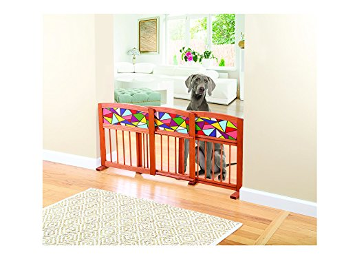 Expanding Indoor/Outdoor Stain Glass And Solid Wood 3 Section Pet Gate by WOOD PET GATES