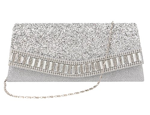 Naimo Flap Dazzling Clutch Bag Evening Bag With Detachable ()